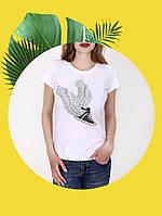 Белая футболка с принтом - 1017-5