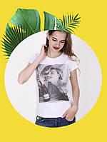 Белая футболка с принтом - 1017-4
