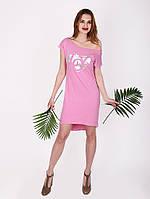 Платье с принтом сердце - 1018