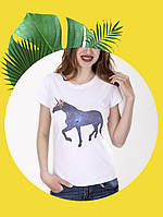Белая футболка с принтом - 1017-3