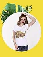 Белая футболка с принтом - 1017-2