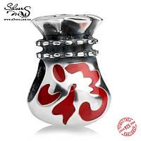 """Серебряная подвеска-шарм Пандора (Pandora) """"Китайский мешочек на удачу"""" для браслета"""