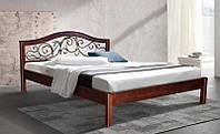 """Кровать деревянная """"Илона"""" металлический прут 12 мм (ольха) 1800х2000"""