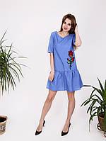 Легкое коттоновое платье с вышивкой - 997