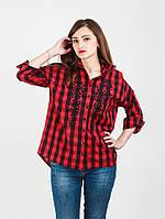 Женская рубашка в клетку с вышивкой-977