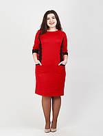 Удобное платье с кружевом и карманами - 980
