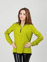 Однотонная блуза с воротником стойка - 970