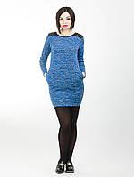 Трикотажное платье мини с длинным рукавом - 923