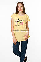 Женская футболка с принтом Happy цвет желтый p.48-50 Senrise SS40-1