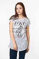 Женская футболка с принтом Love цвет голубой p.48-50 Senrise SS41-1