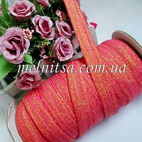 Резинка для повязок (эластичная тесьма), цвет т.розовый с золотом