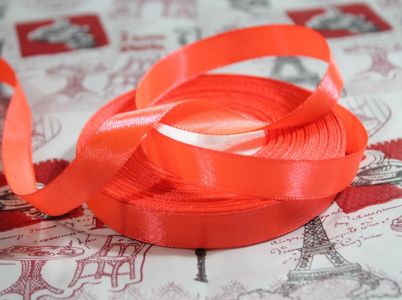Лента атласная ярко- оранжевая 12,5 мм, моток 33 м.