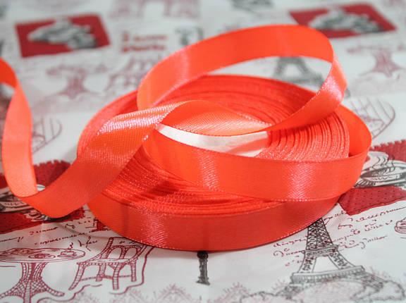 Лента атласная ярко- оранжевая 12,5 мм, моток 33 м., фото 2
