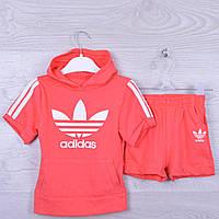 """Костюм детский """"Adidas"""" для девочки. 92-116 см рост. Персик. Оптом."""