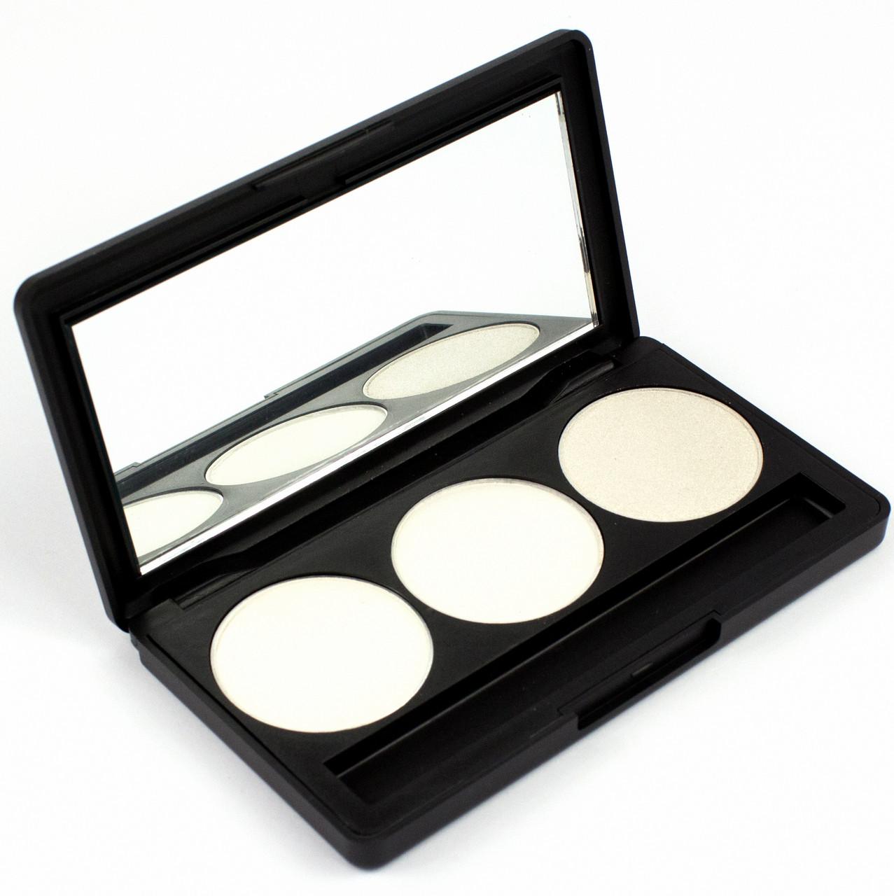 Набор теней для век 3 цвета Beauties Factory Eyeshadow Palette #24 - TECHNO SILVER