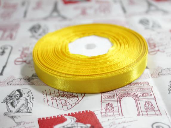Лента атласная желтая 12,5 мм, моток 33 м., фото 2