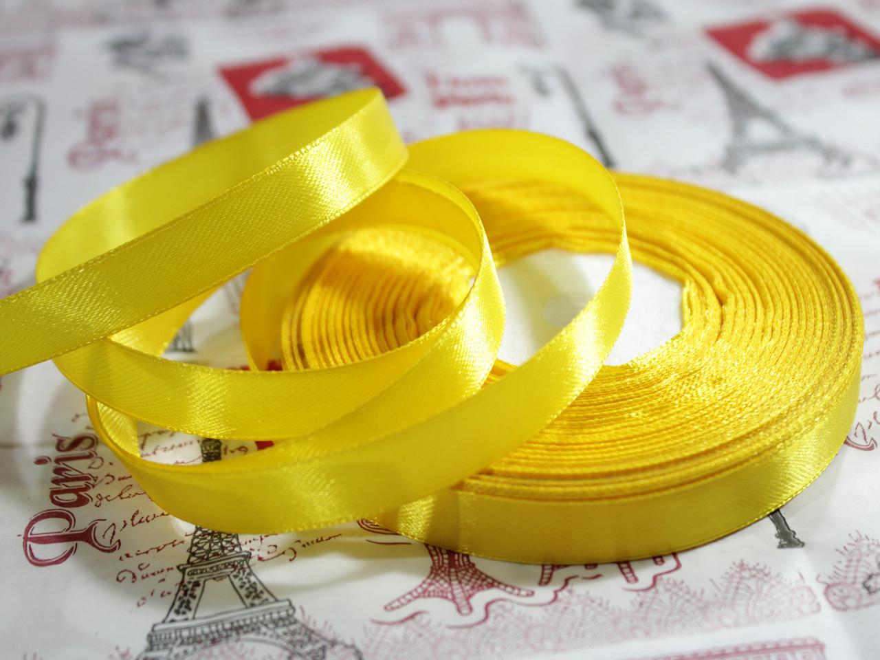 Лента атласная желтая 12,5 мм, моток 33 м.