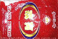 Бисер мелкий 450грм в упаковке, цвет красный-стекло