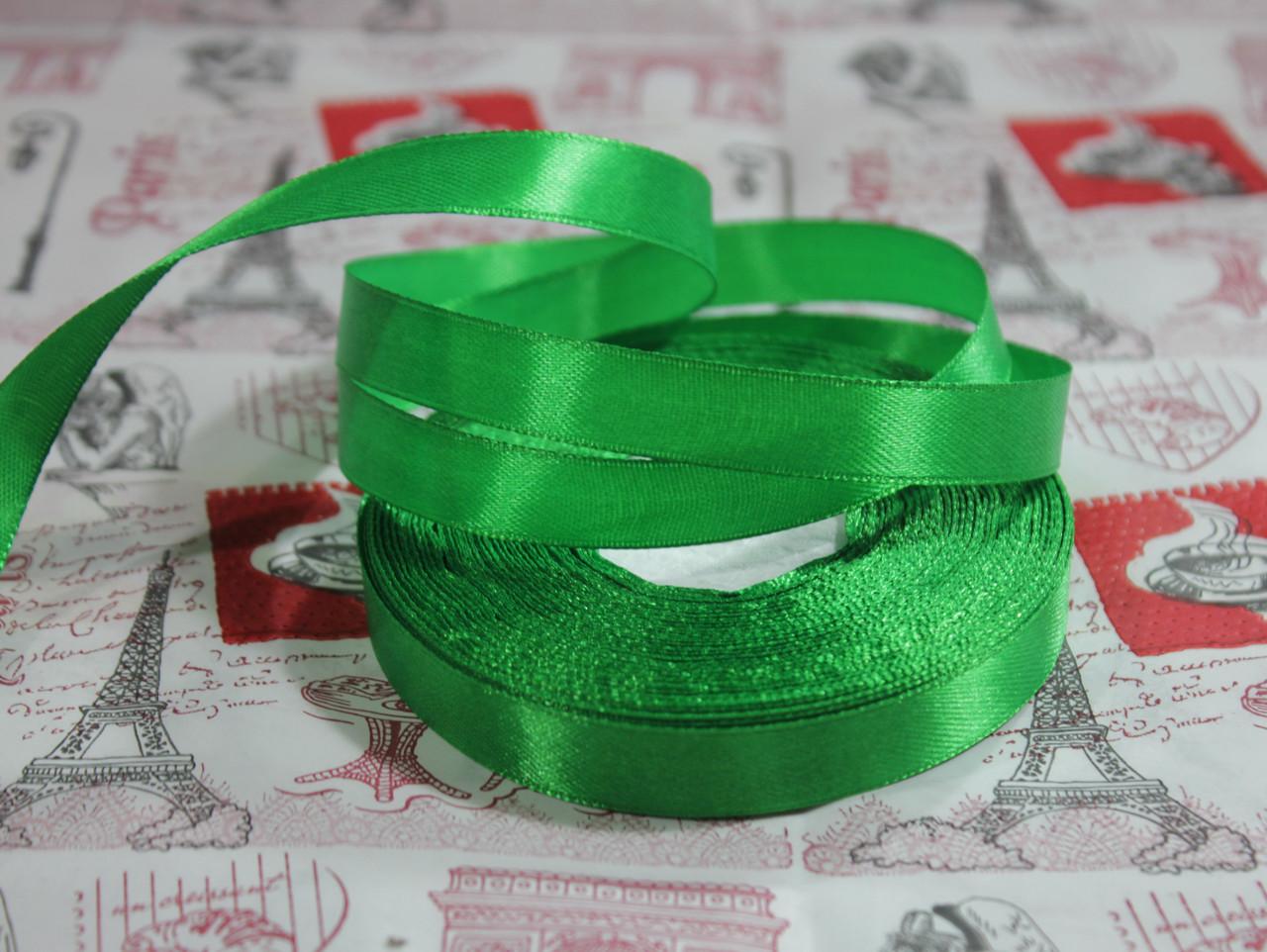 Лента атласная зеленая 12,5 мм, моток 33 м.