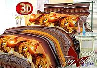 Натуральное постельное белье 2 спальный комплект 3Д Царь зверей