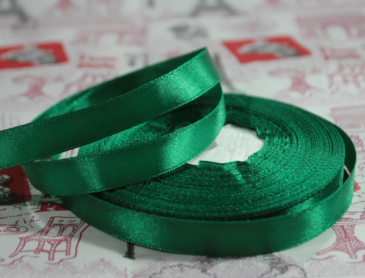 Лента атласная темно- зеленая 12,5 мм, моток 33 м.