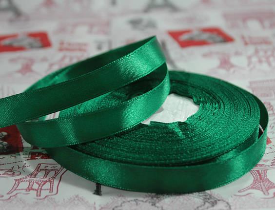 Лента атласная темно- зеленая 12,5 мм, моток 33 м., фото 2