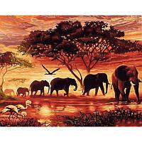 Живопись Савана слоны 40*50, рисование по номерам картина
