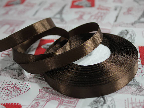 Лента атласная шоколадная 12,5 мм, моток 33 м., фото 2