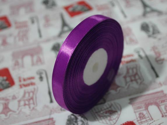 Лента атласная фиолетовая 12,5 мм, моток 33 м., фото 2