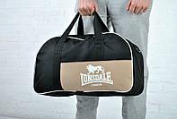 Сумка Lonsdale Barrel Bag черный-бежевый белый лого /lonsdale