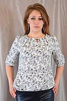 Нежная легкая женская шифоновая блуза с оригинальным принтом
