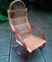 Кресло из лозы пружинка с дутыми подлокотниками