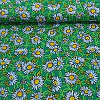 Ткань с ромашками на зеленом фоне, фото 1