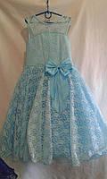 Детское нарядное платье   6-8  лет,голубое
