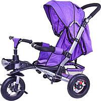 Детский трехколесный велосипед Super Trike TR20106 (спинка ложится,надувные колеса), фиолетовый, фото 1