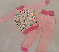 Трикотажная пижама с манжетами.  На возраст 9 - 24 мес.