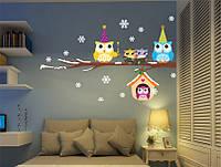 """Интерьерные виниловые наклейки """"Очаровательные Рождественские Совушки"""", 3D дизайн комнаты"""