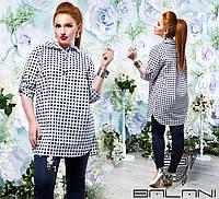 6e4e06edae8 Длинная клетчатая коттоновая женская рубашка большого размера (р.48-54)