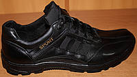 Кроссовки мужские кожаные черные, мужские кроссовки кожаные от производителя модель ВИ07