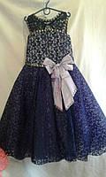 Детское нарядное платье   6-8  лет,темно синее с сиреневым