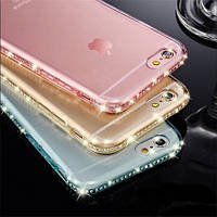"""Золотистый силиконовый чехол-накладка с камушками Swarovski для iPhone 7 (4.7"""")"""