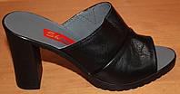 Кожаные сабо на высоком каблуке, летняя женская обувь от производителя модель СТЛ22