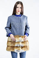 Пальто шерстяное с отделкой из меха лисы - 05888 длина 82 см