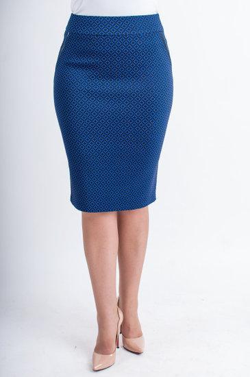 Стильная стрейчевая юбка с карманами и молнией синего  цвета