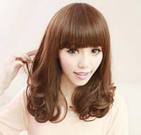 Женский модный парик с челкой, волнистые волосы, синтетические волосы, цвет - рыже-коричневый