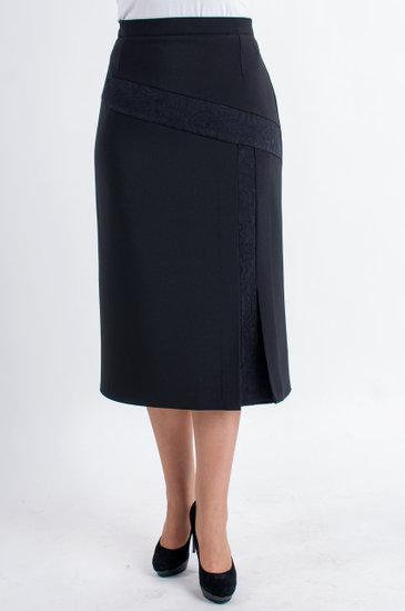 Стильная женская юбка из костюмной ткани черного цвета