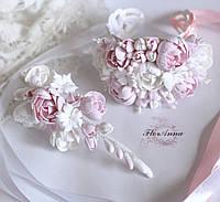 """""""Бело-розовые пиончики""""(браслет+заколка). Свадебные украшения ручной работы из полимерной глины"""