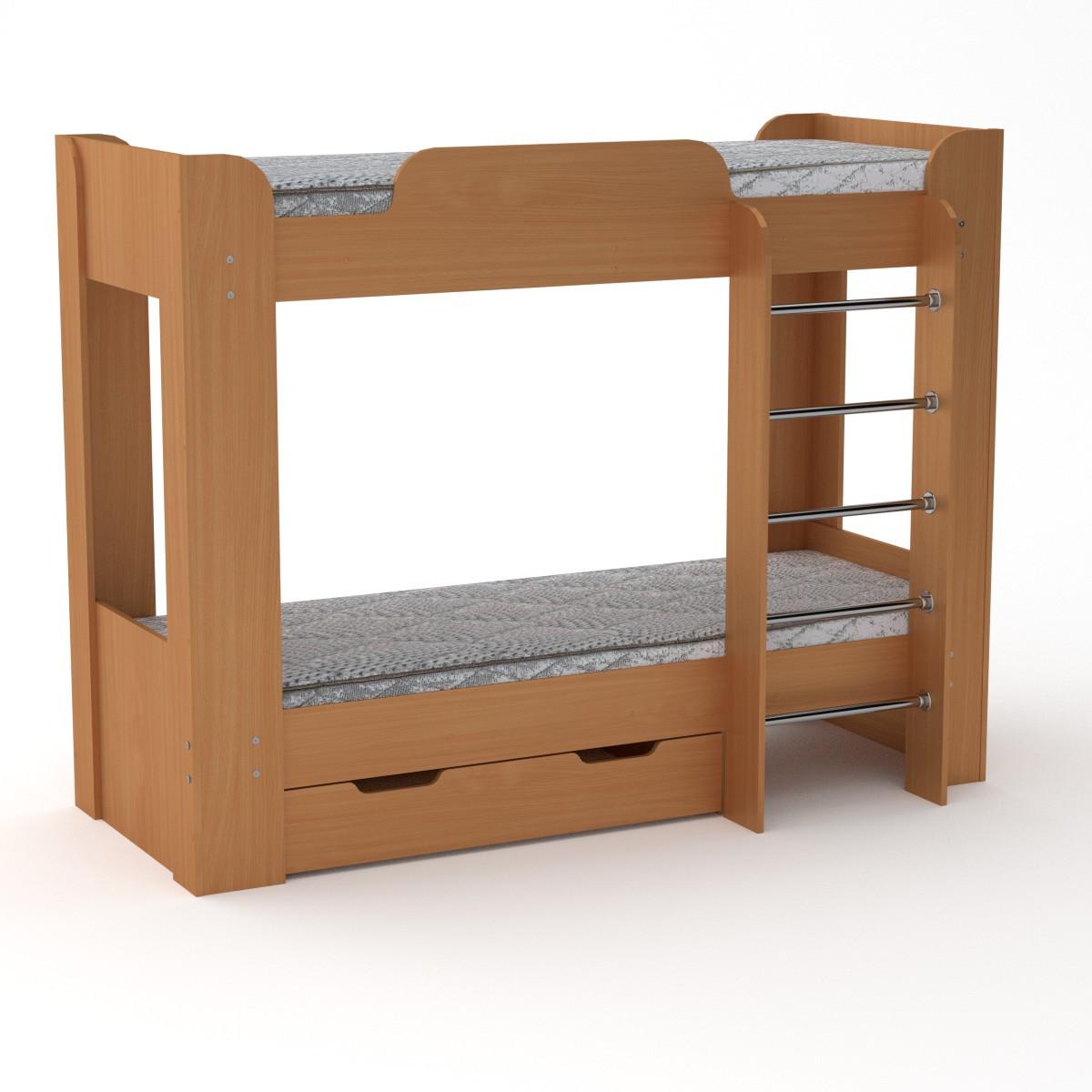 Кровать с матрасами двухъярусная Твикс-2 бук Компанит