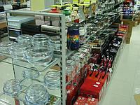 Стеллаж торговый с зеркальной задней стенкой для магазина посуды. Стеллажи с полками в магазин посуды, фото 1
