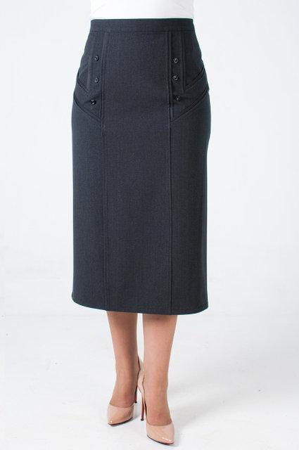 Стильная юбка серого цвета из костюмной ткани